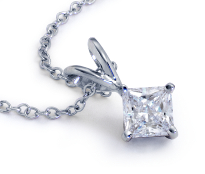Princess-Cut Diamond Solitaire Pendants in 14k White Gold