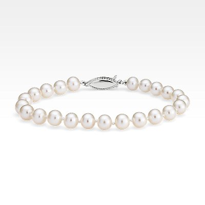 Freshwater Cultured Pearl Bracelet in 14k White Gold (6.0-6.5mm)