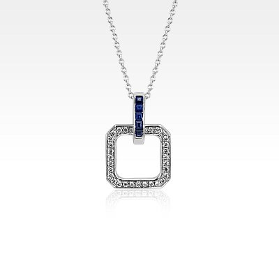 Monique Lhuillier Blue Sapphire and Diamond Geometric Pendant in 18k White Gold