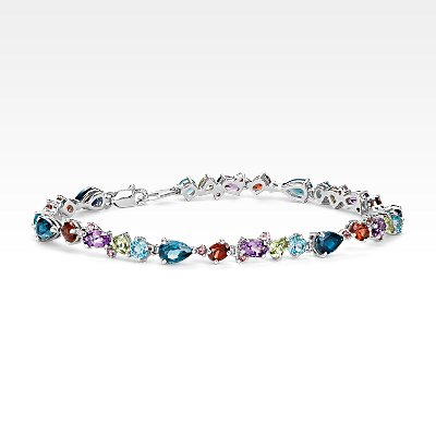 Multicolor Gemstone Bracelet in Sterling Silver (6x4mm)